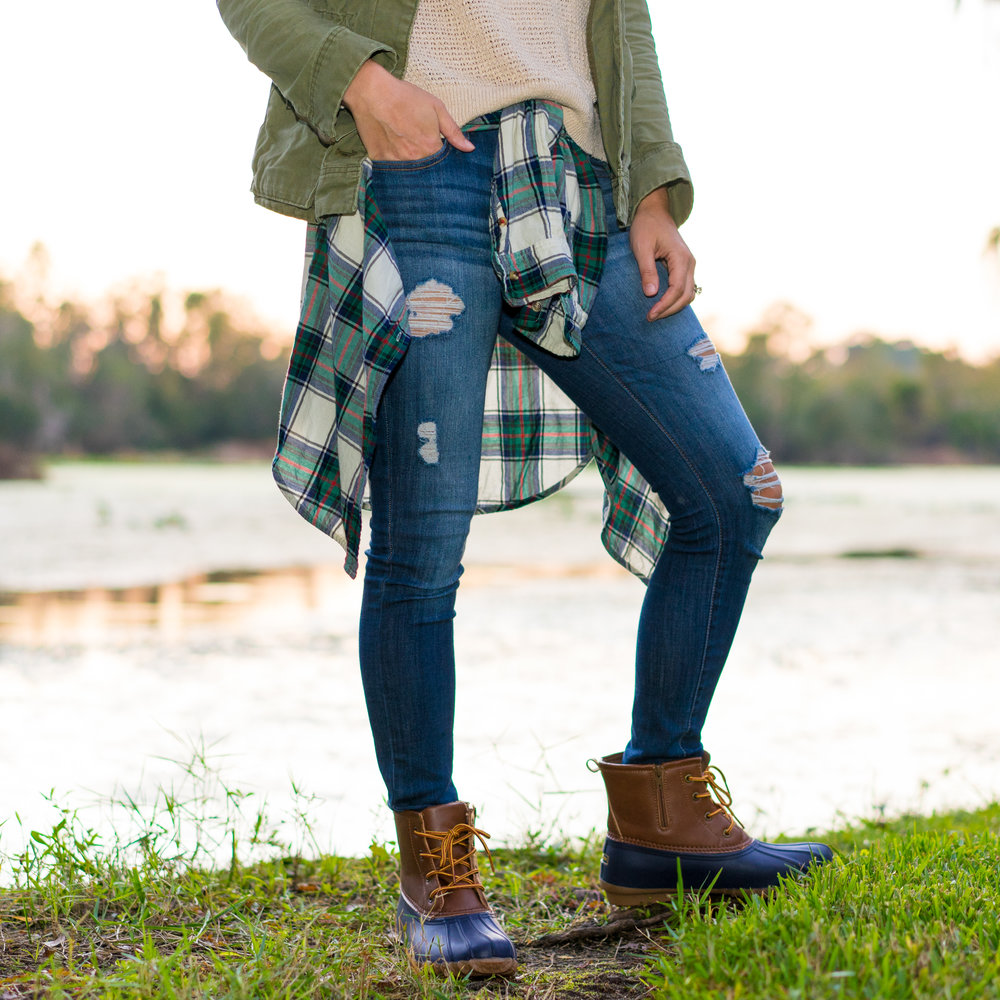 Utility jacket, plaid shirt, duck boots