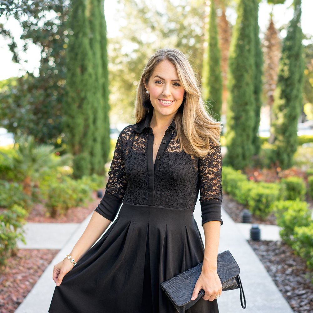 Lace sleeve black dress
