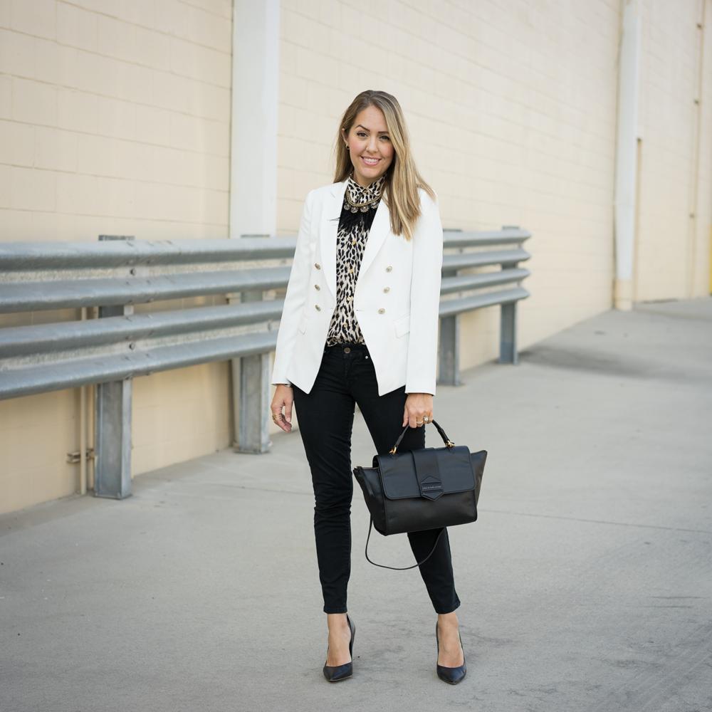 White blazer, leopard shirt, black jeans
