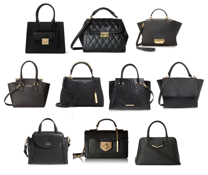 Black structured handbags on a budget