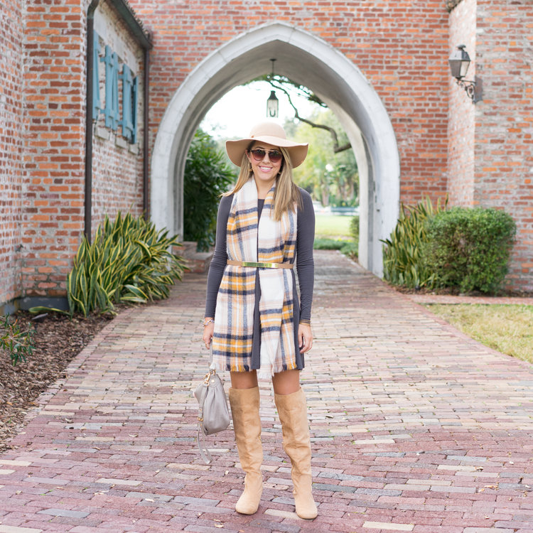 Plaid+scarf,+long+sleeve+dress,+over+the+knee+boots.jpeg