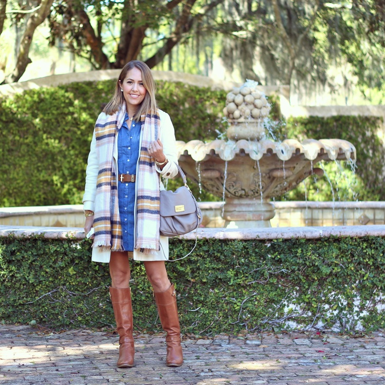 Chambray+dress,+plaid+scarf,+ivory+coat.jpeg