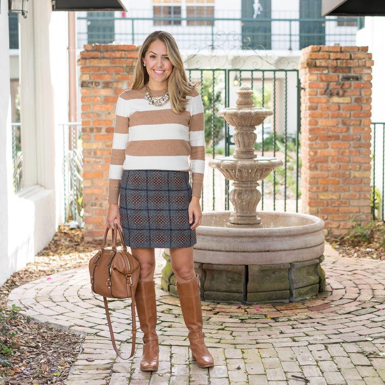 Striped+sweater+and+plaid+skirt,+riding+boots.jpeg