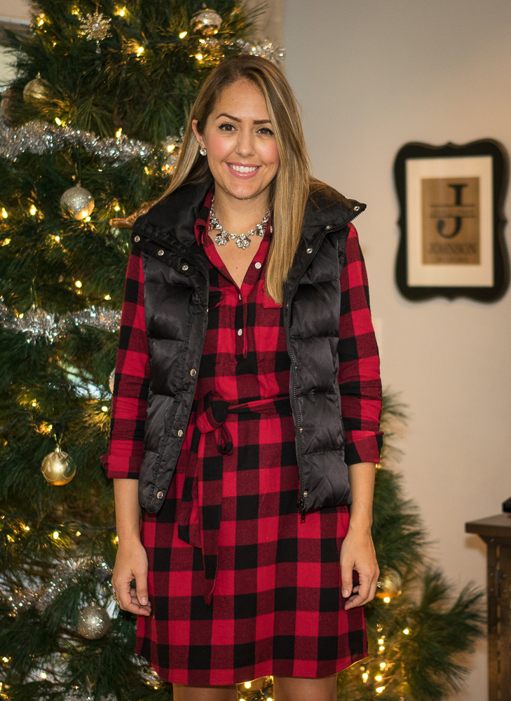 Buffalo plaid dress, Christmas tree