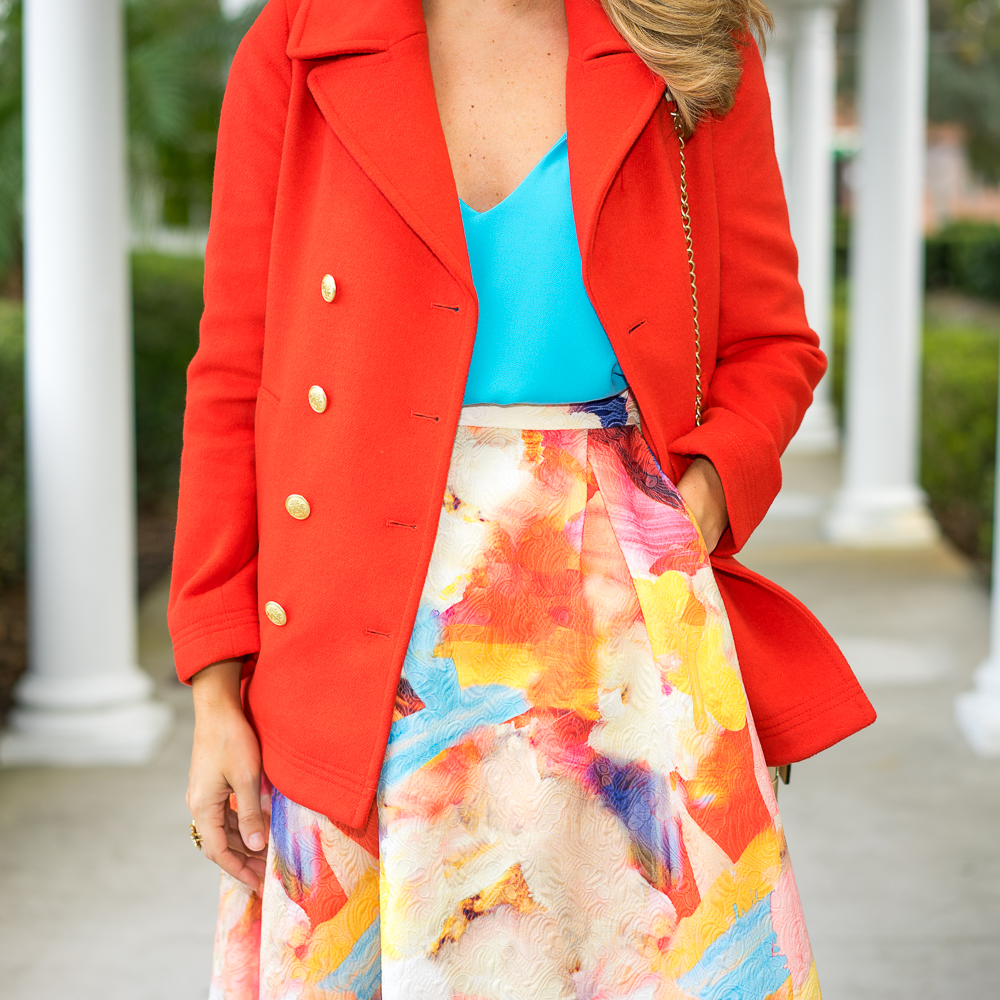 Red wool coat, full skirt