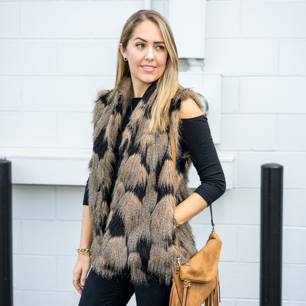 Faux fur vest, cold shoulder top