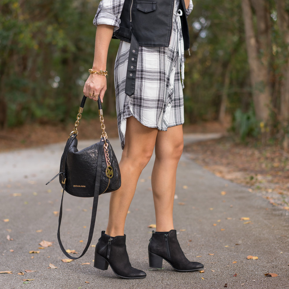Plaid shirtdress, black moto vest