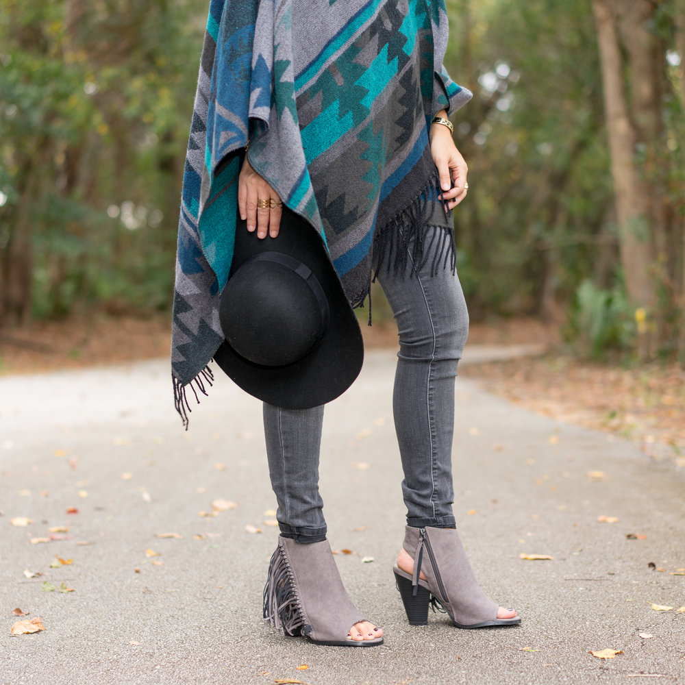 Fringe poncho and booties