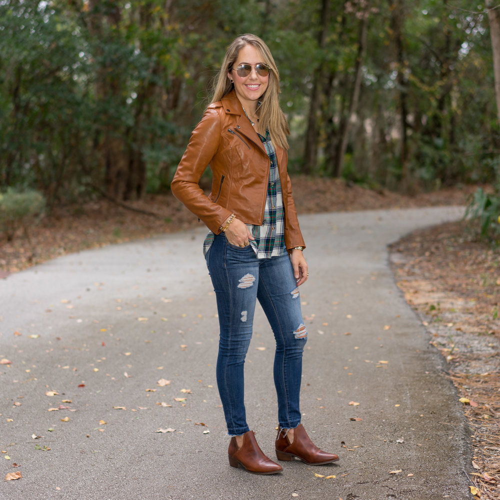 Cognac leather jacket and booties
