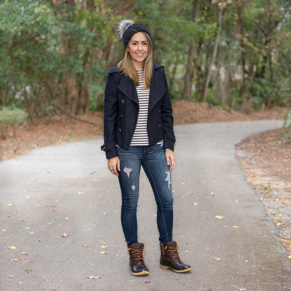 Striped tee and duck boots