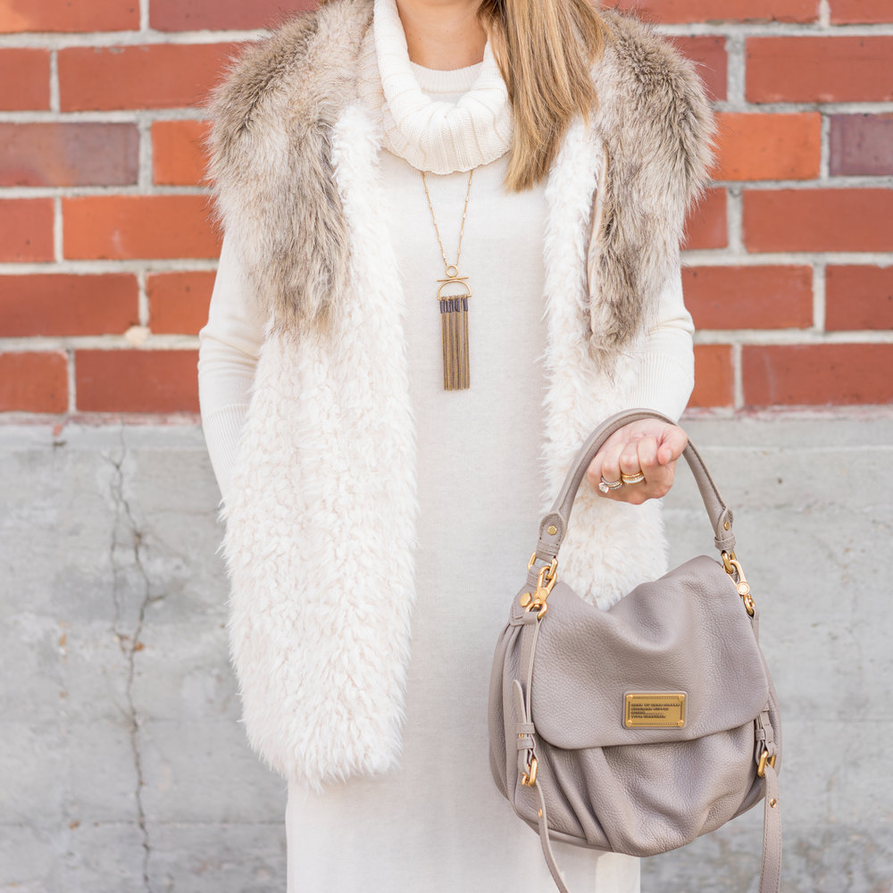 Ivory sweater dress, faux fur vest