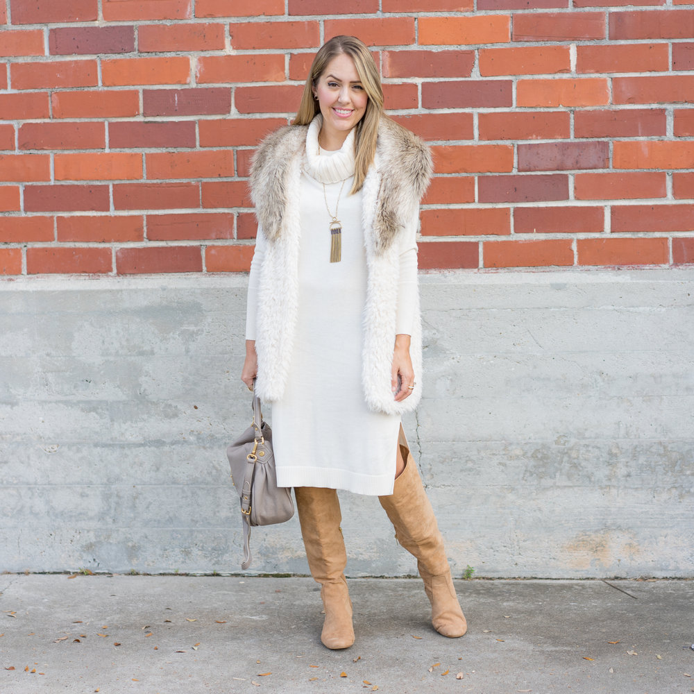 Ivory sweater dress, faux fur vest, over the knee boots
