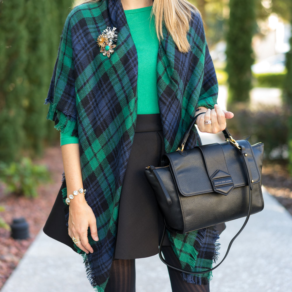 Green plaid, green sweater, full skirt