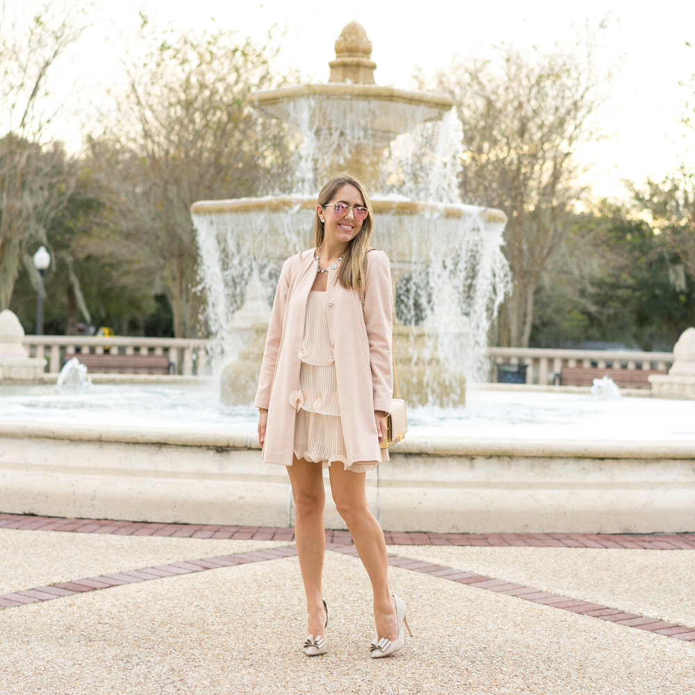Blush pink holiday look