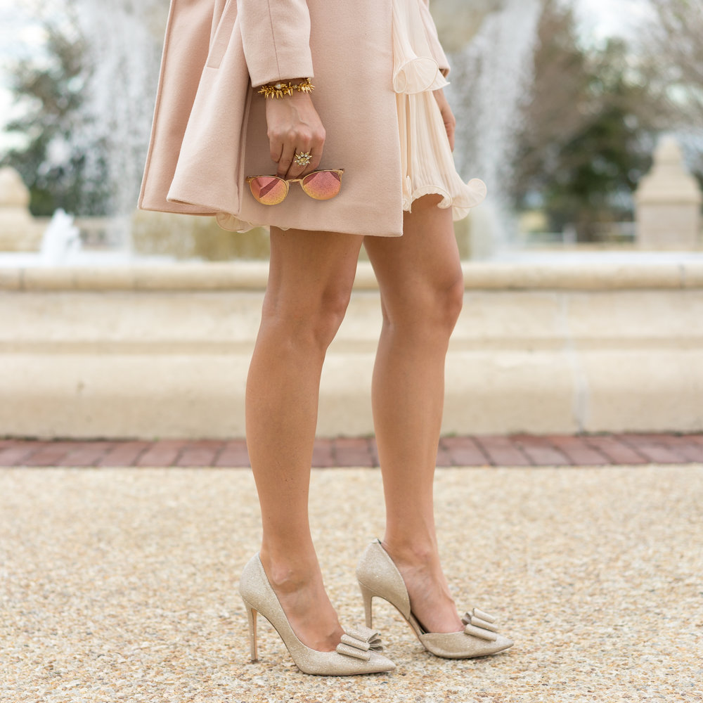 Blush pink holiday look with bow pumps