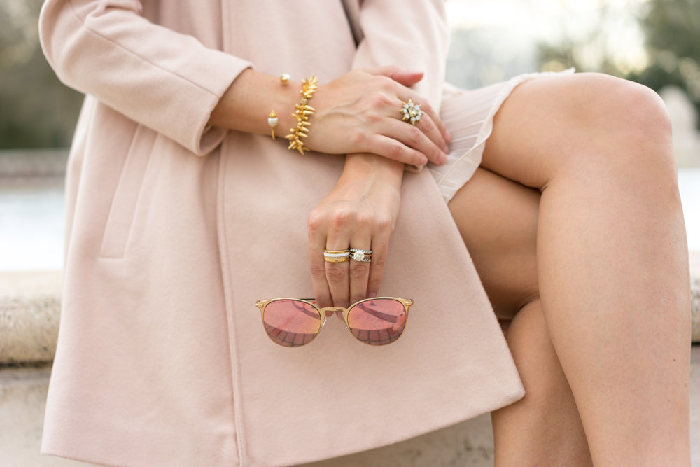 Rose gold sunglasses, blush coat