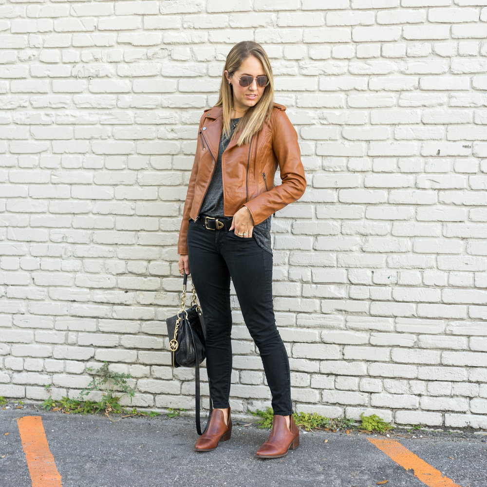 Cognac leather jacket, black jeans