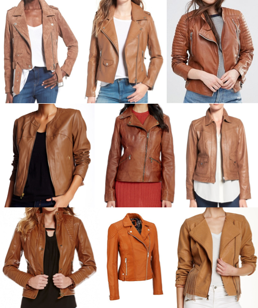 Cognac leather jackets on a budget