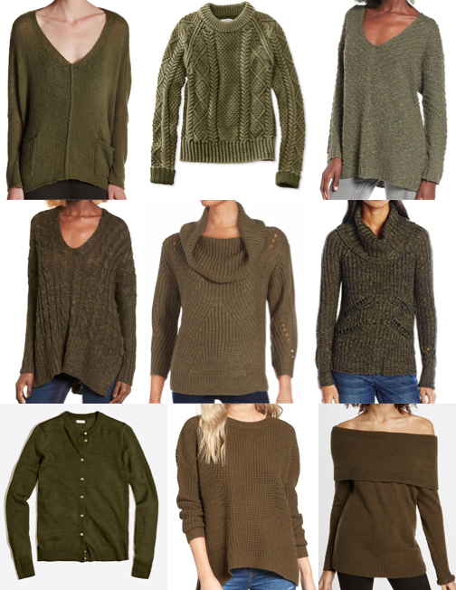 Olive sweaters on a budget
