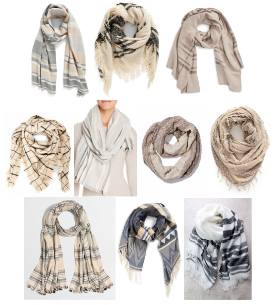 Neutral scarves on a budget