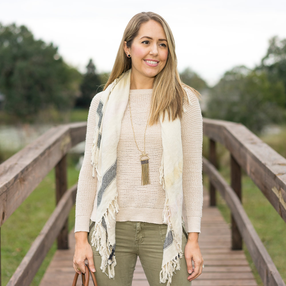 Ivory sweater, olive pants
