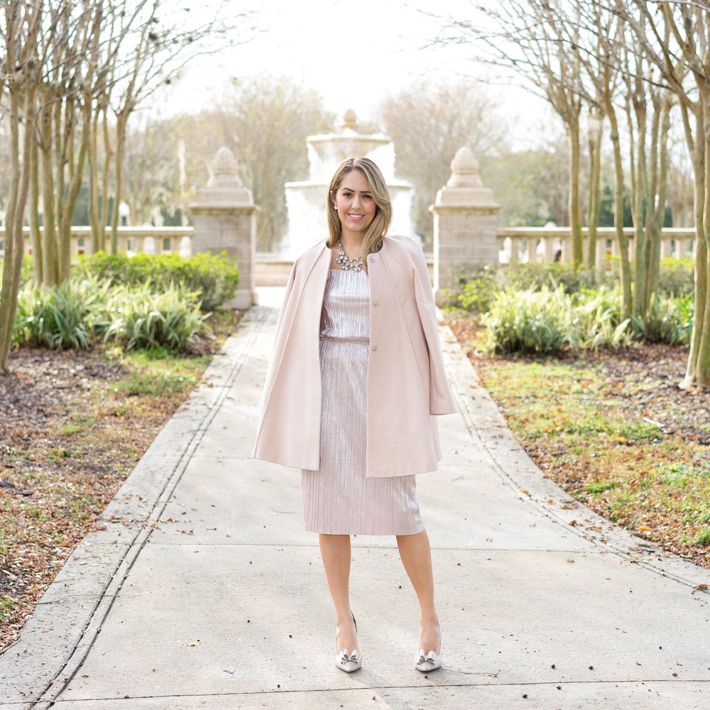 Rose gold dress, blush coat