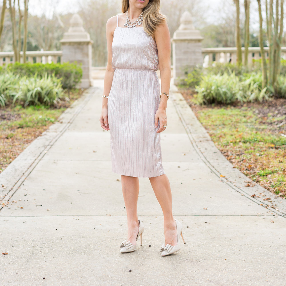 Rose gold pleated dress