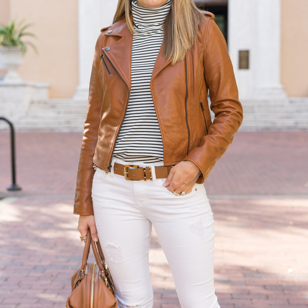 Cognac leather jacket, white jeans