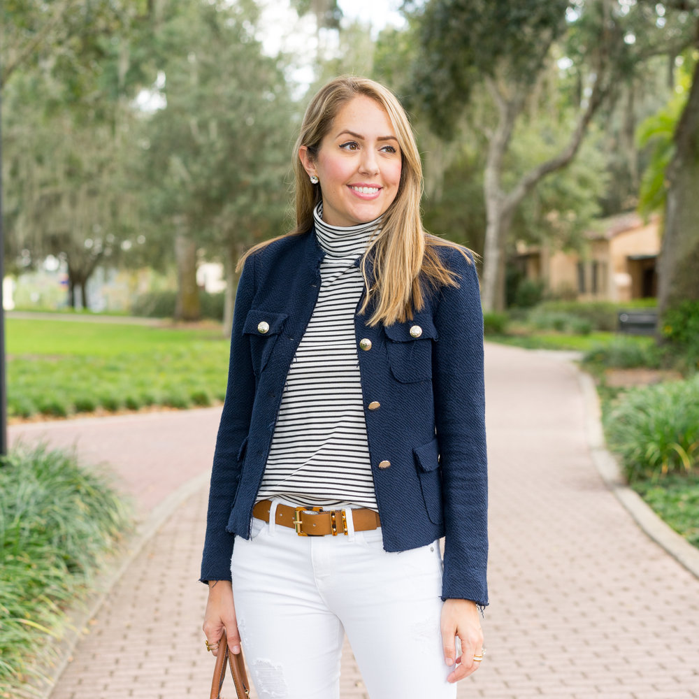 Navy boucle jacket, stripes, white jeans