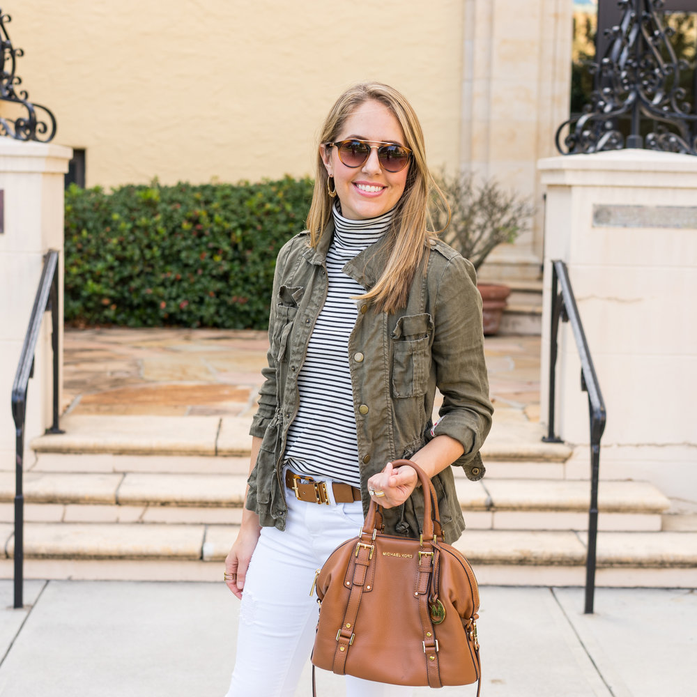 Olive jacket, white jeans, cognac purse