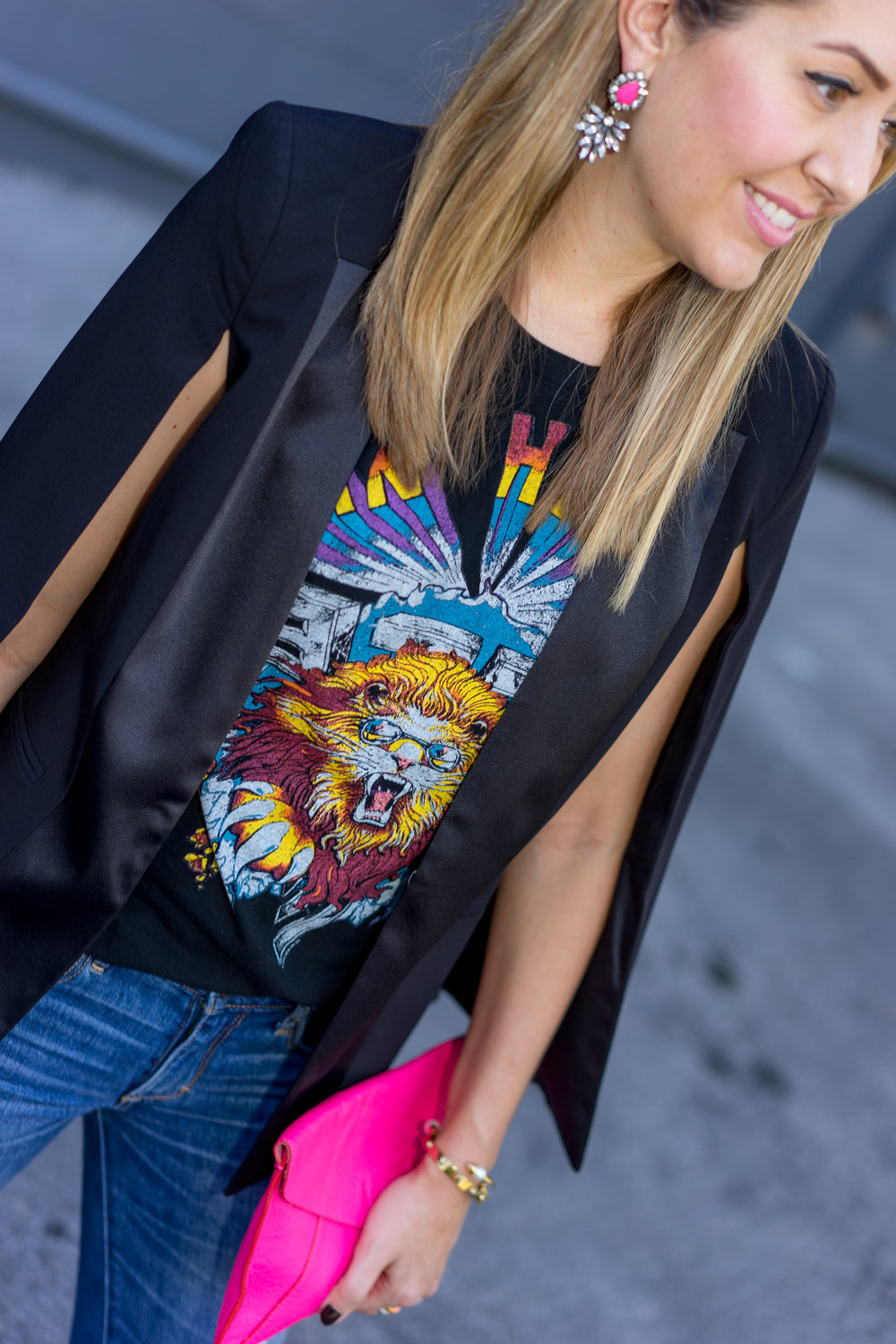 Pink earrings, cape blazer, concert tee