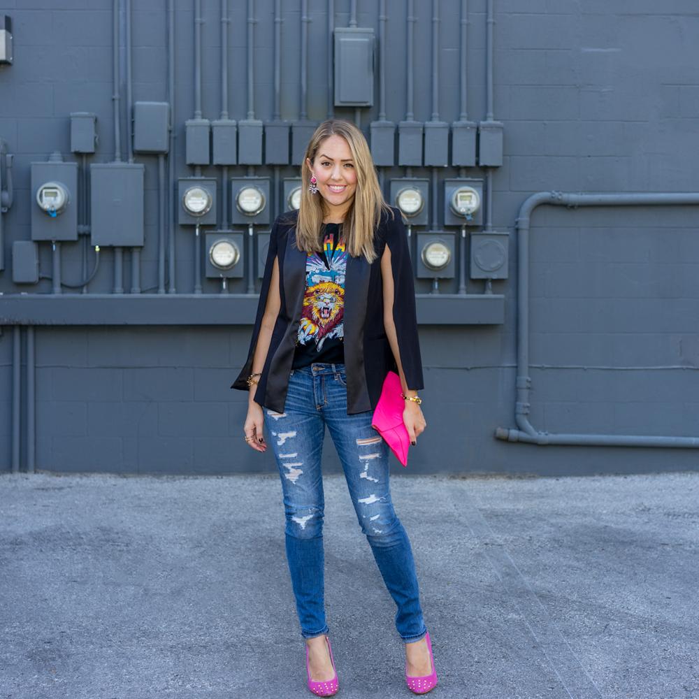 Cape blazer, concert tee, pink heels