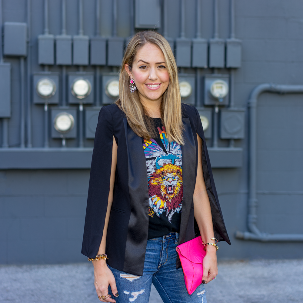 Cape blazer, concert tee, hot pink clutch