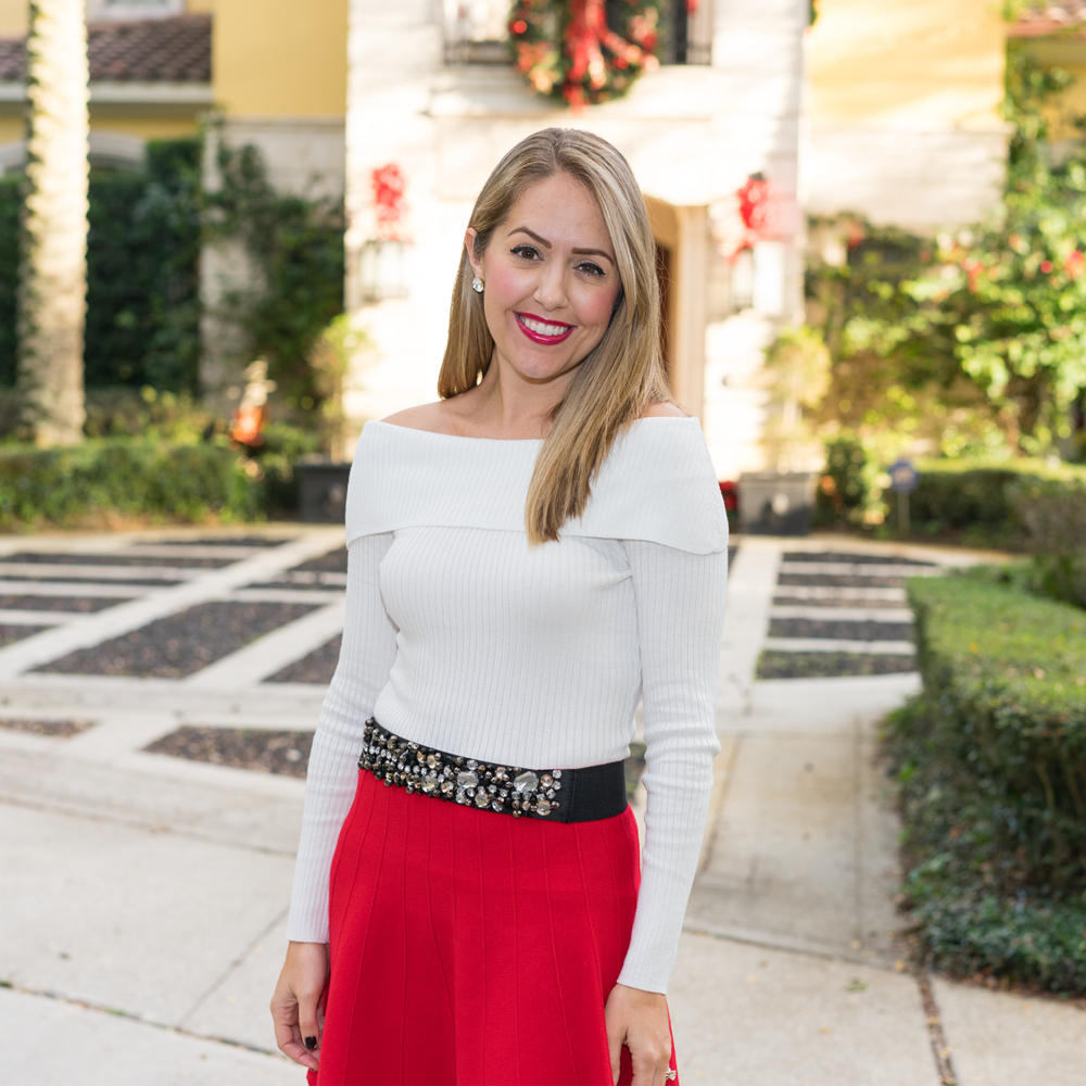Christmas outfit red skirt