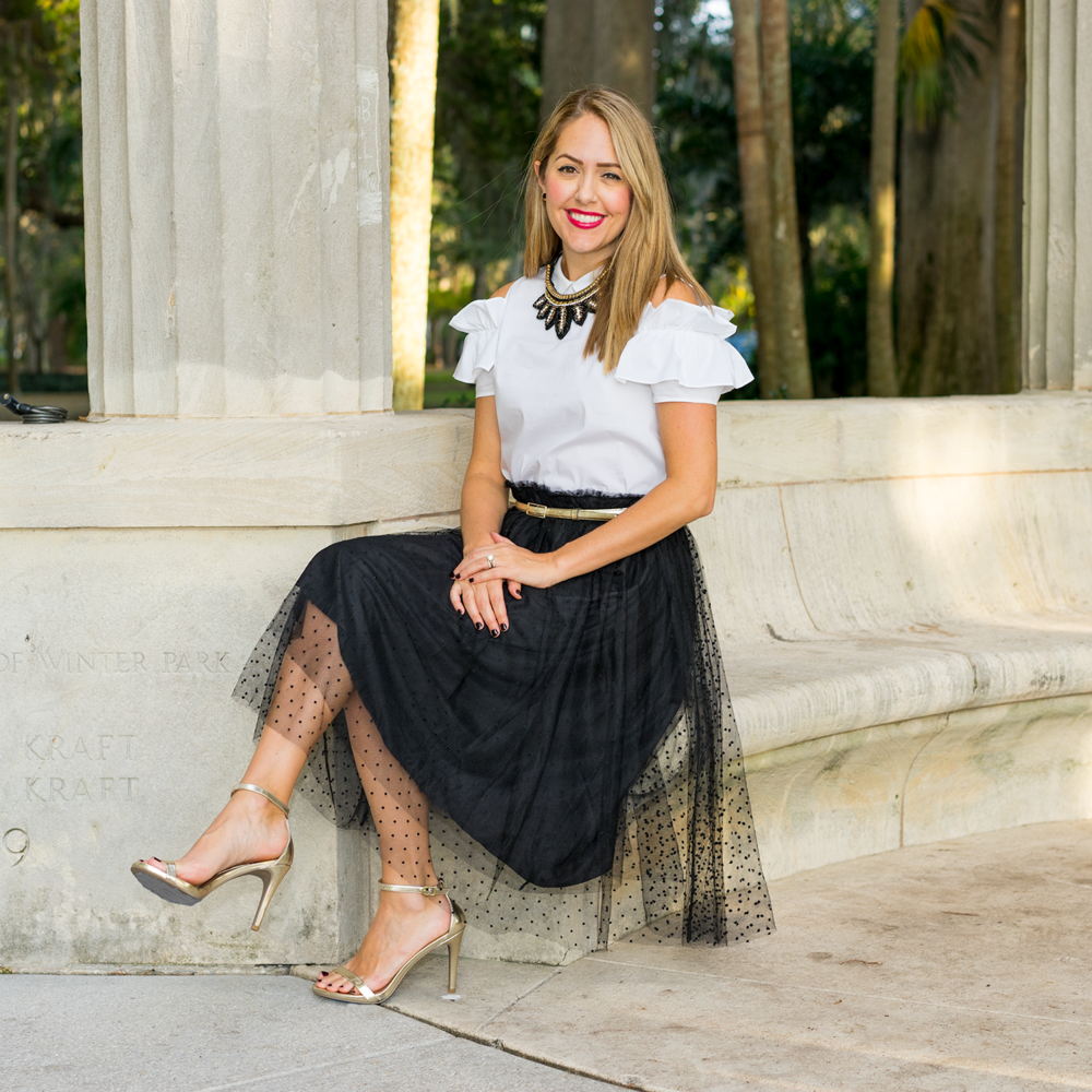 Holiday outfit tulle skirt