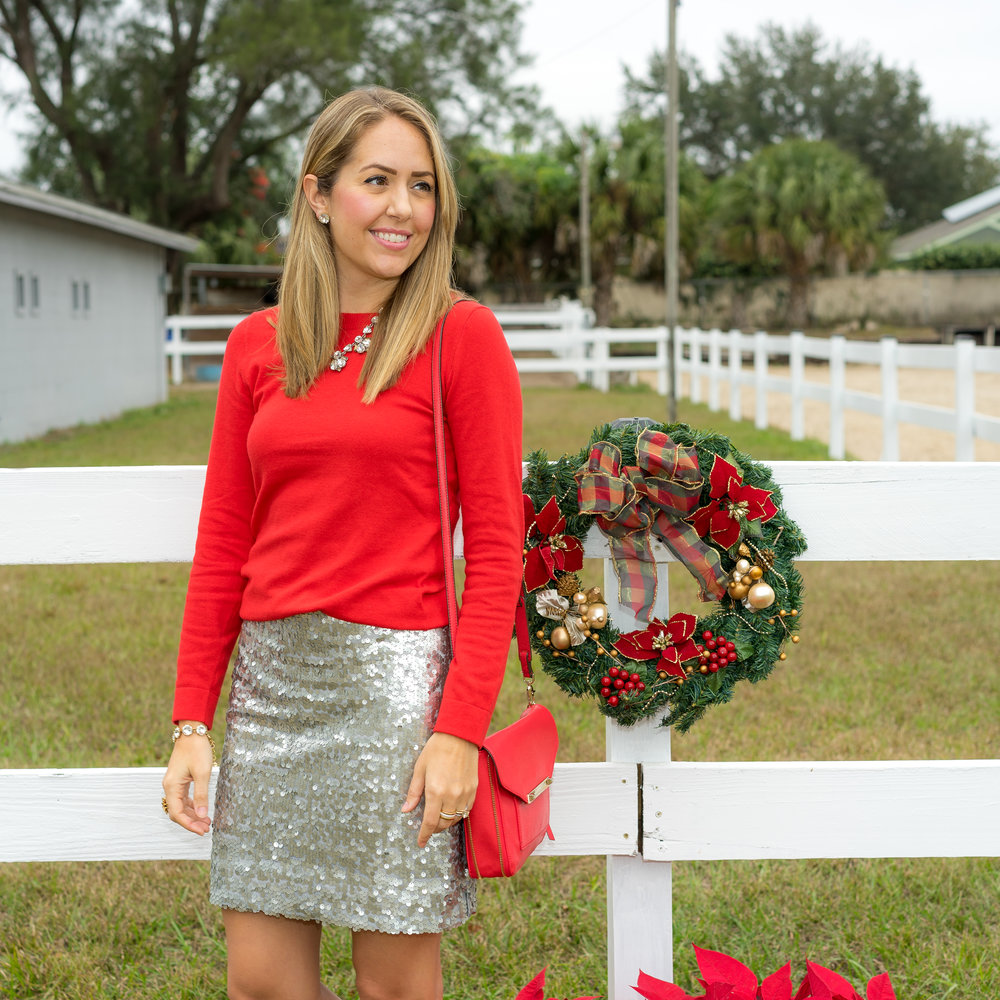 Red sweater, sequin skirt