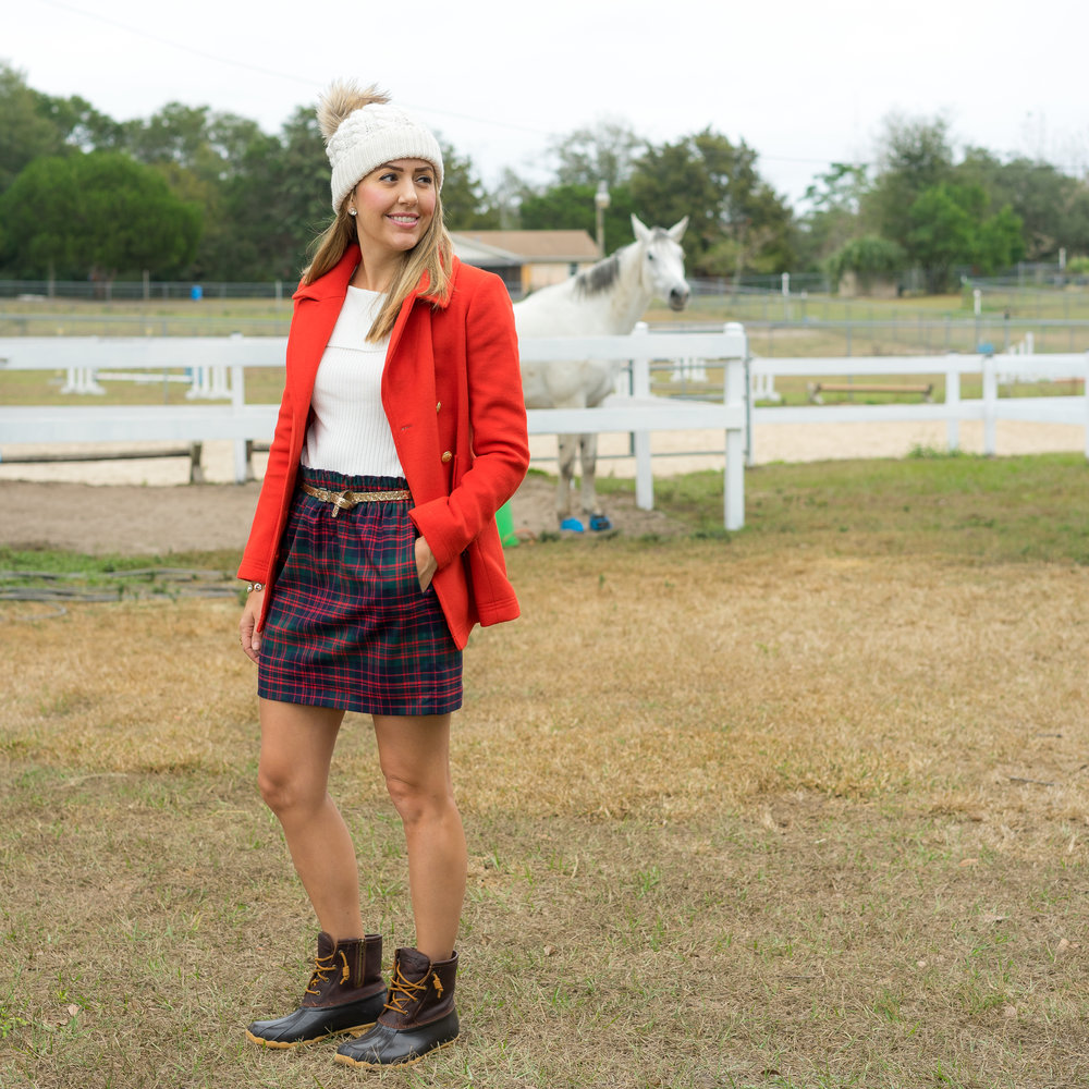 Red plaid coat, plaid skirt, duck boots