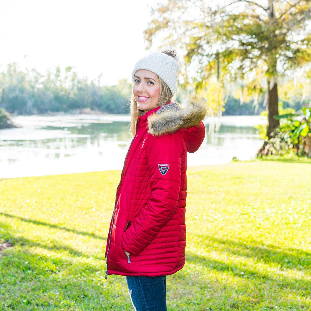 Red sporto puffer coat