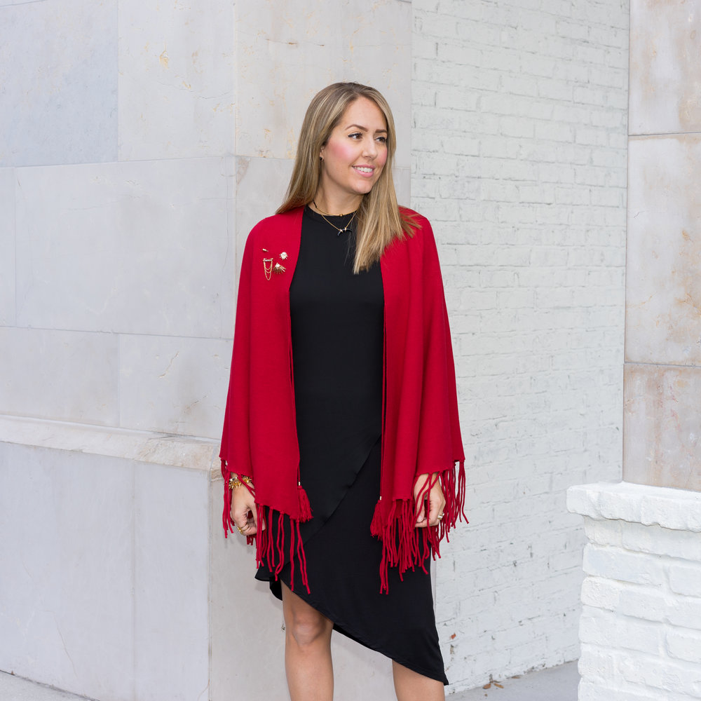 Red cape, Black asymmetrical dress