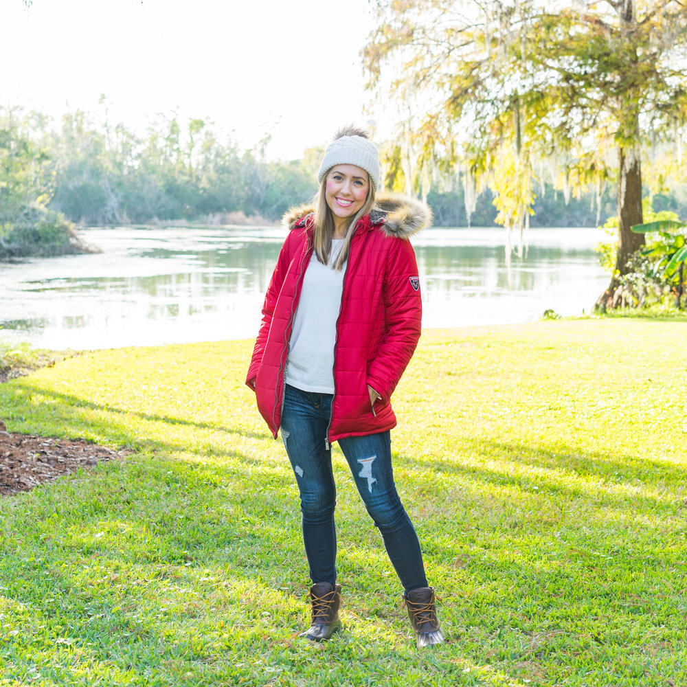Red puffer coat, duck boots