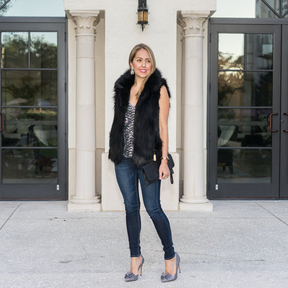 Faux fur vest, sequin top, bow shoes