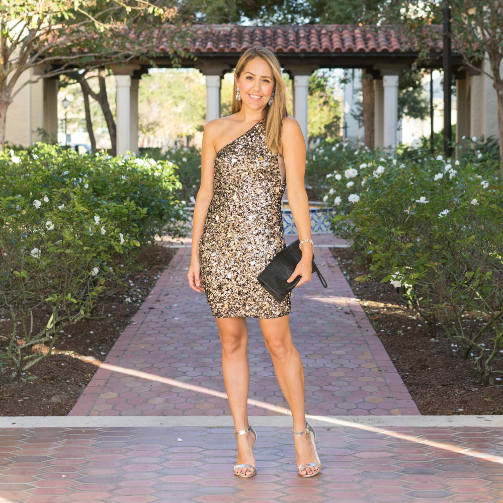 Silver sequin one shoulder dress