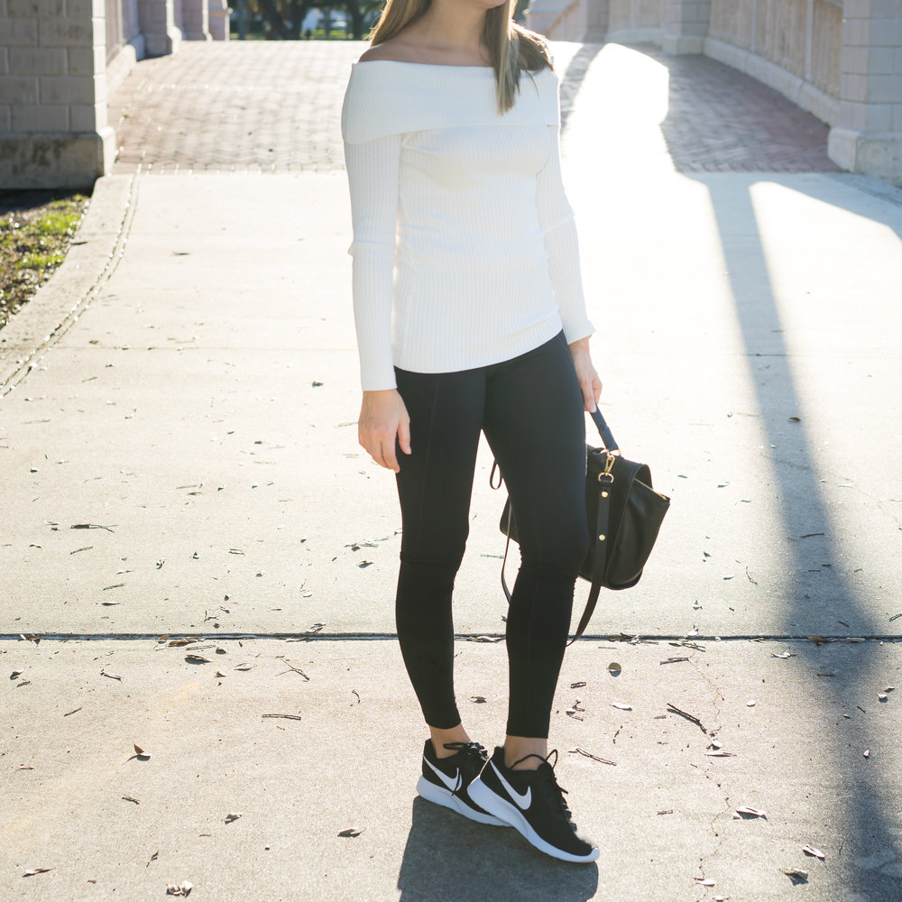 Off shoulder sweater, leggings, Nike Tanjun