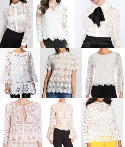 White lace tops under $100