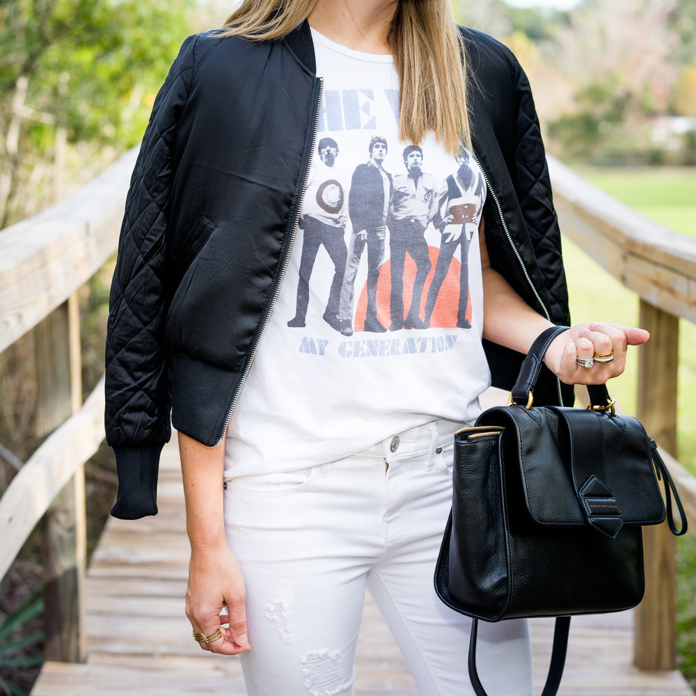 Graphic tee, bomber jacket, white jeans