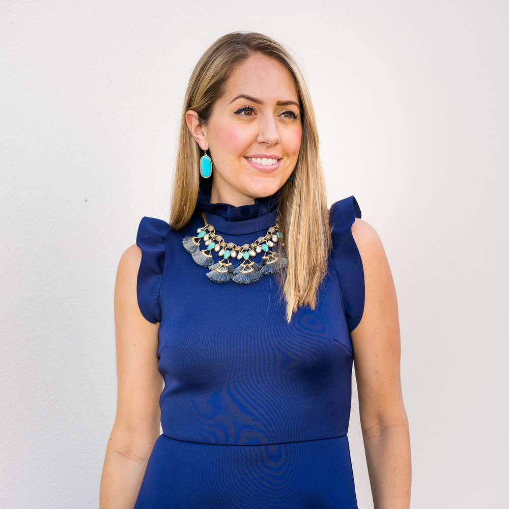 Navy dress, Stella Dot tassel necklace, turquoise Kendra Scott earrings