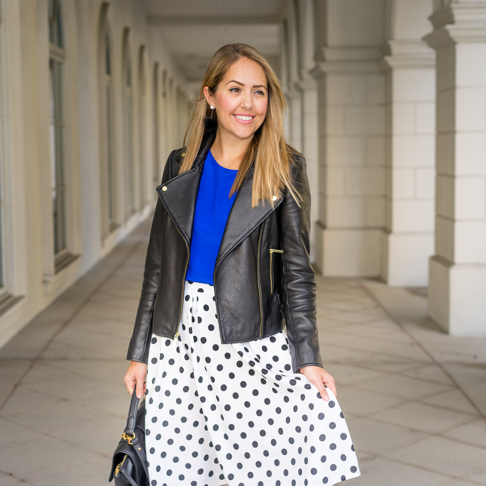 Black leather jacket, cobalt, polka dot skirt