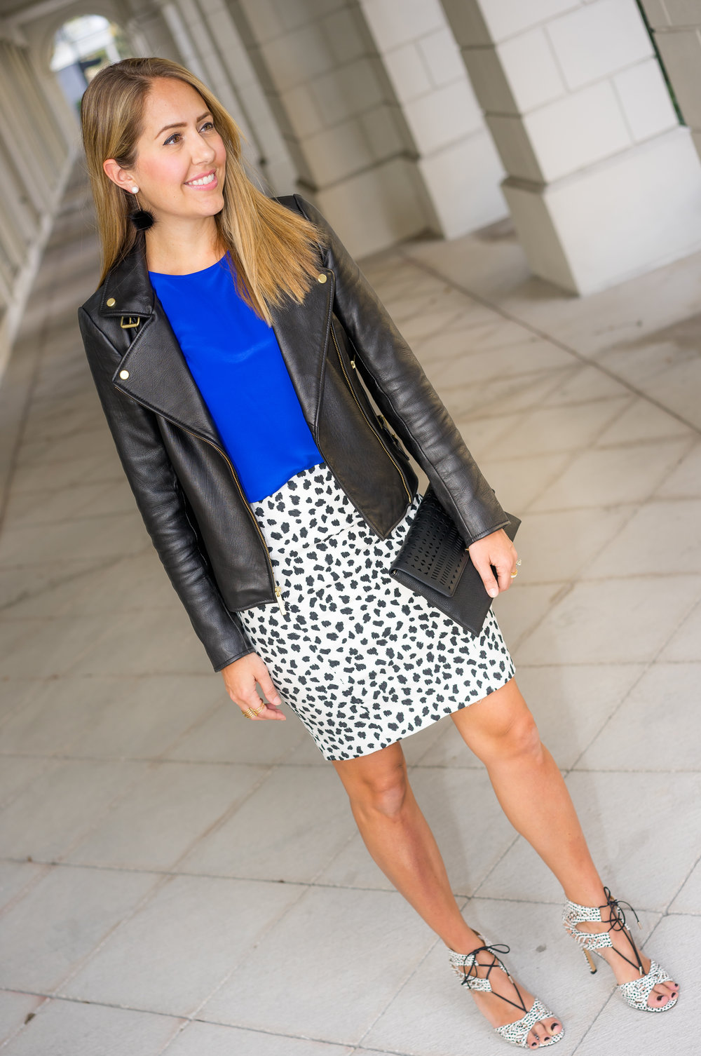 Black leather jacket, cobalt, dalmatian print