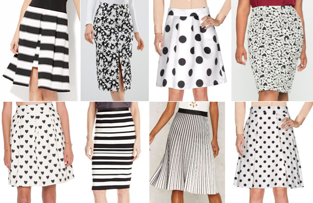 Black and white skirts