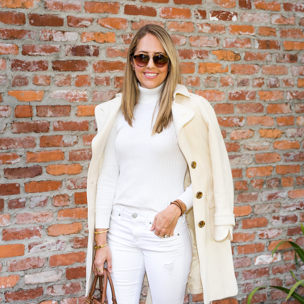 Ivory coat, sweater, jeans